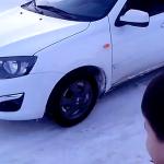 Экстремальный прогрев резины на снегу, хэтчбек «Калина-2»