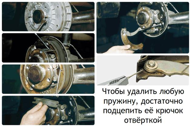 Действия по замене колодок барабанных тормозов, ВАЗ-2192/2194