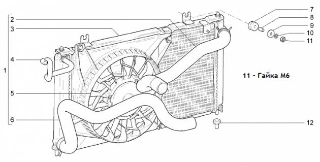 Радиатор ВАЗ-2192/94, чертёж