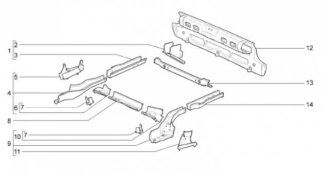 Каркас заднего пола а/м ВАЗ-2194